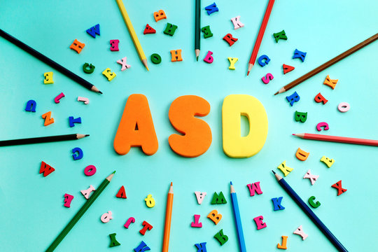 ASD. Autism spectrum disorder from color letters and color pensils, World Autism Awareness Day, April Autism awareness month
