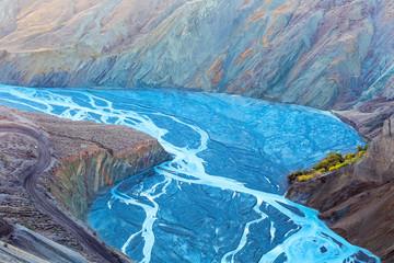 Fototapeta canyon landscape of blue river valley closeup obraz