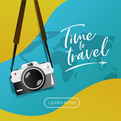 """Travel poster, brochure , flyer, web banner template. Hanging vintage camera vector illustration with slogan """"Time to Travel"""" typography"""
