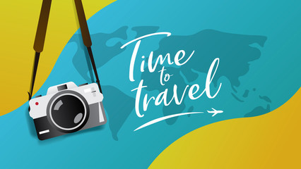 "Travel poster, brochure , flyer, web banner template. Hanging vintage camera vector illustration with slogan ""Time to Travel"" typography"