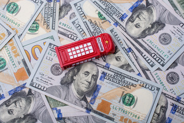 Model telephone booth is on the US dollar banknotes