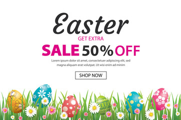 Easter sale banner design template with colorful eggs and flowers. Use for advertising, flyers, posters, brochure, voucher discount.
