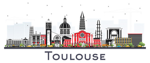 Wall Mural - Toulouse France City Skyline with Color Buildings Isolated on White.