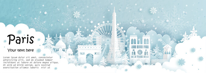 Fototapete - Panorama postcard and travel poster of world famous landmarks of Paris, France in winter season in paper cut style vector illustration