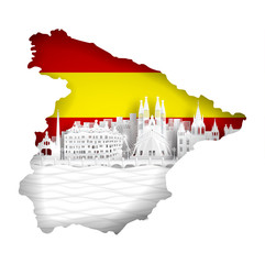 Fotomurales - Spain map concept with flag and famous landmark for travel postcard and poster, brochure, advertising in paper cut style vector illustration