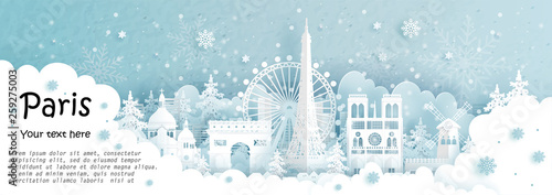 Fototapete Panorama postcard and travel poster of world famous landmarks of Paris, France in winter season in paper cut style vector illustration