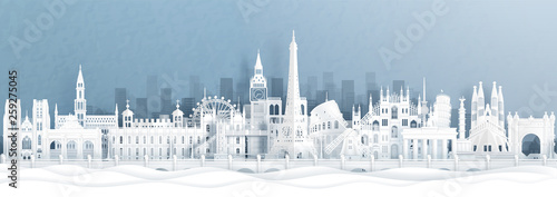Fototapete Panorama postcard and travel poster of world famous landmarks of europe, Holland, France, Germany, Belgium, Spain and England in paper cut style vector illustration