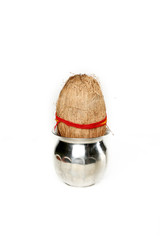 Picture of kalash with coconut for navratri festival. Isolated on the white background.