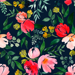 Watercolor floral pattern, delicate flower background.
