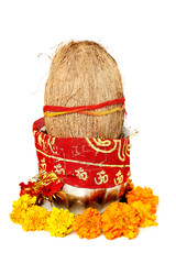 Picture of kalash with coconut and chunni with floral decoration for navratri pooja. Isolated on the white background.