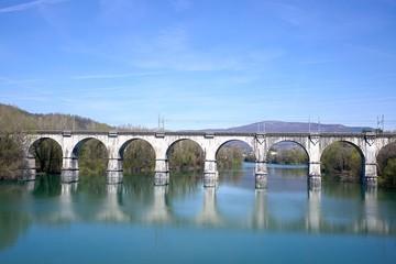 Train bridge on the river Soca Gorizia