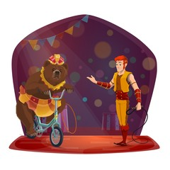 Animal trainer, bear riding bicycle. Circus show
