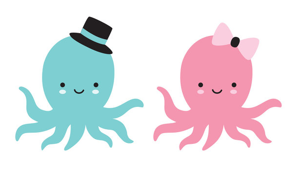 Cute baby boy and girl octopus vector illustration.
