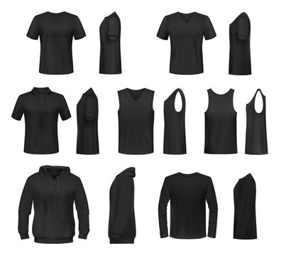 Women black shirt, polo, sweatshirt and tank top