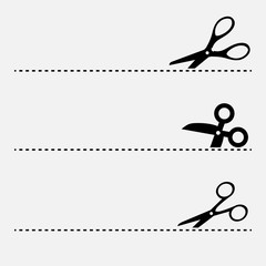 Cut line and scissors vector icon illustration isolated on white background.