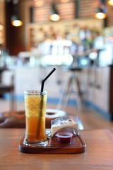 iced lemon tea cold drink in cafe