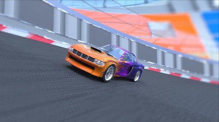 Sports car rides on the ring track. 3d illustration