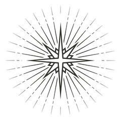 Stylized eight pointed star. Black and white linear drawing isolated on white background. EPS10 vector illustration