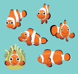Cute Clownfish Various Poses Cartoon Vector