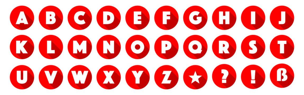 Lettres de l'alphabet dans cercles rouges