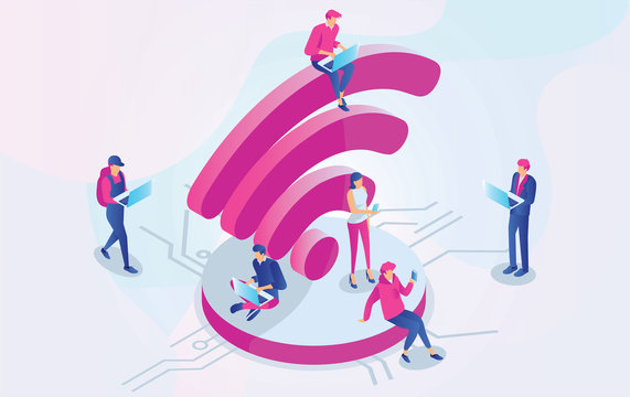 Isometric People working on laptops sitting on a big wifi sign in the free internet zone. Free wifi hotspot, public assess zone, portabe device concept background. Vector 3d Illustration - Vector