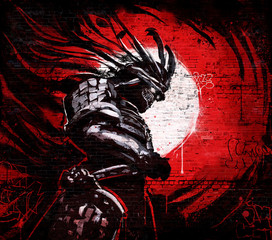 In de dag Graffiti Graffiti on a brick wall of japanese demon in a mask with glowing eyes on the background of a bloody sunset
