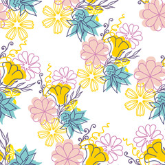 Seamless bright pattern with abstract romantic flower. Modern floral vector illustration. For prints, textile, wrapping.