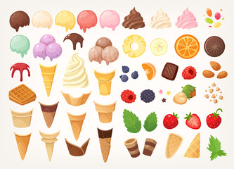 Elements to create your own ice cream. Ice cones, cups, scoops and toppings. Isolated vector images