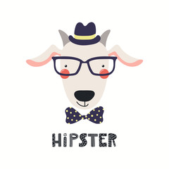 Spoed Fotobehang Illustraties Hand drawn vector illustration of a cute hipster goat in glasses, with lettering quote Hipster. Isolated objects on white background. Scandinavian style flat design. Concept for children print.