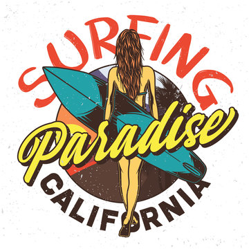 Hand drawn illustration of sexy girl with surfing board. Surfing club logo. Vacation at sea story. T-shirt or poster design.