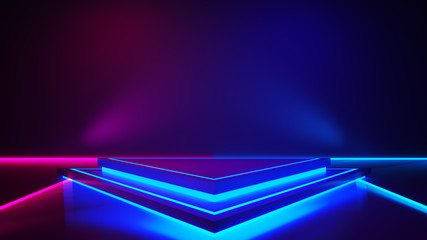 Triangle stage with and and purple neon  light ,abstract fustic background,ultraviolet  concept,3d render