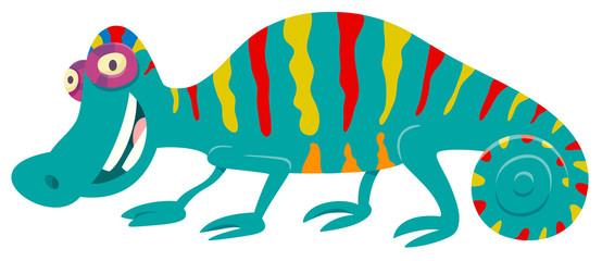 funny chameleon cartoon animal character Wall mural