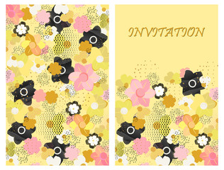 Design greeting card, invitation in a floral motif. Abstract flowers, dots, dashes on a light yellow background. Vector illustration.