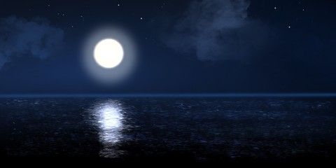 Illustration of beautiful full moon reflection on the silent ocean surface with dark blue sky with clouds and stars.