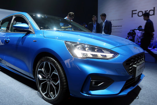Ford Focus car with smart vehicle technology is seen at a product launching event in Shanghai