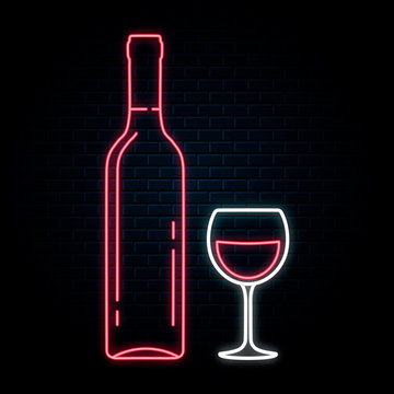 Glowing neon sign with wine bottle and glass. Vector isolated illustration. Icon for night winery bar background. Led luminous sign for wedding restaurant signboard.