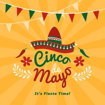 Cinco de Mayo holiday with sombrero