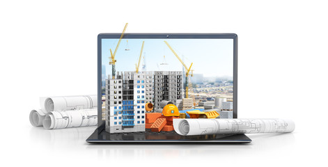 Construction site on the screen of a laptop computer, skyscraper, drawing plan, building materials. 3d illustration