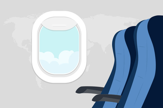 Passenger seats and porthole with a landscape. View from the airplane window. Armchairs and Illuminati in the plane. Passenger space in the plane. Vector illustration.