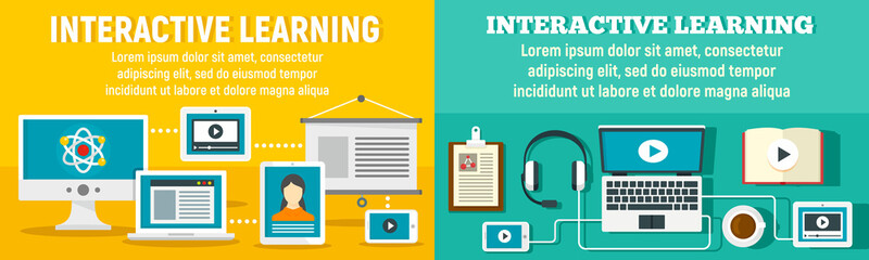 Interactive learning banner set. Flat illustration of interactive learning vector banner set for web design