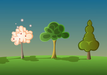 Three cartoon trees in the middle of the forest in the same row. Vector Illustration