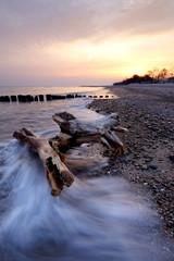 Wschód słońca nad  Morzem Bałtyckim.