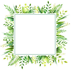 Watercolor frame of leaves.