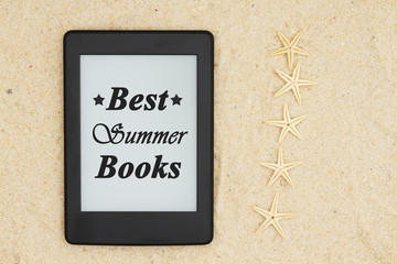 An e-reader on the beach for your summer reading with five starfish  with text Best Summer Books