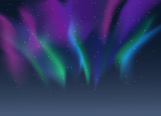 Vector aurora borealis illustration of northern lights