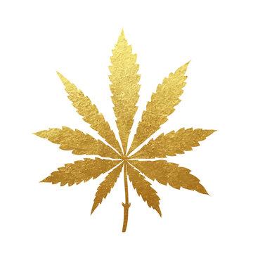 Gold cannabis leaf vector
