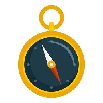 Hand metal compass icon. Flat illustration of hand metal compass vector icon for web design