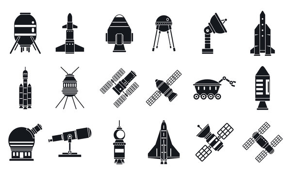 Spaceship research technology icons set. Simple set of spaceship research technology vector icons for web design on white background
