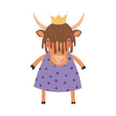 Hand drawn vector illustration of a cute funny yak girl in a dress. Isolated objects on white background. Scandinavian style flat design. Concept for children print.