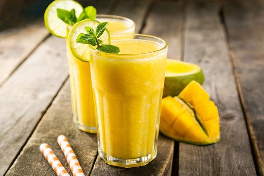 Mango smoothie and ingredients